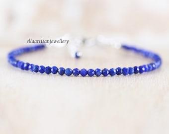 Lapis Lazuli Delicate Beaded Bracelet in Sterling Silver, Gold or Rose Gold Filled, Dainty Blue Gemstone Skinny Stacking Bracelet for Women