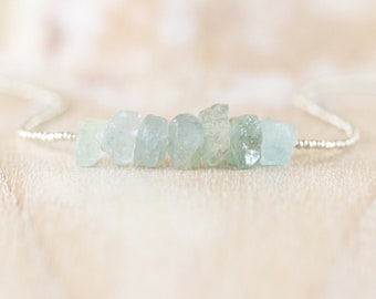 Raw Aquamarine, Seed Bead & Sterling Silver Necklace. Rough Gemstone Uncut Nuggets. Dainty Delicate Choker. Long Layering Necklace for Women