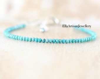 Arizona Sleeping Beauty Turquoise Delicate Beaded Bracelet in Sterling Silver, Gold or Rose Gold Filled. Dainty Stacking Bracelet for Women