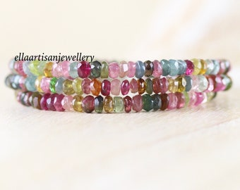 Multi Color Tourmaline Wrap Bracelet. Sterling Silver, Rose, Gold Filled. Watermelon Pink & Green Gemstone Dainty Beaded Jewelry for Women