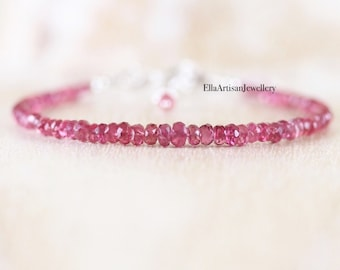 Pink Spinel Dainty Bracelet in Sterling Silver, Gold or Rose Gold Filled, Delicate Beaded Gemstone Stacking Bracelet, Fine Jewelry for Women