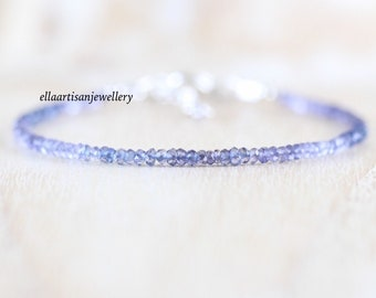 Iolite Delicate Beaded Bracelet in Sterling Silver, Gold or Rose Gold Filled, Dainty Blue Gemstone Stacking Bracelet, Water Sapphire Jewelry