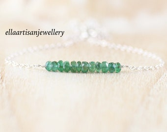 Raw Zambian Emerald Bar Necklace in Sterling Silver, Gold or Rose Gold Filled. Dainty Gemstone Choker. Delicate Layering Jewelry for Women