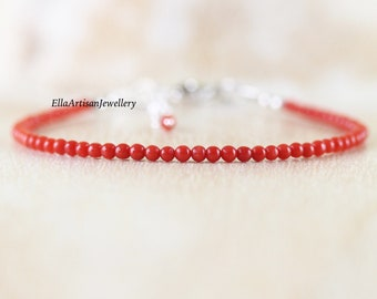 Italian Red Coral Bracelet. Genuine Untreated Mediterranean Red Coral Jewelry. Sterling Silver, Rose, Gold Filled. Dainty Bracelet for Women