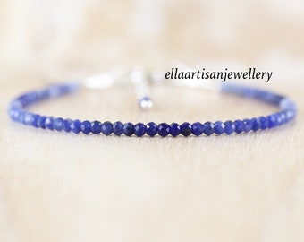 Sodalite Delicate Beaded Bracelet in Sterling Silver, Gold or Rose Gold Filled. Dainty Stacking Bracelet. Ombre Gemstone Jewelry for Women