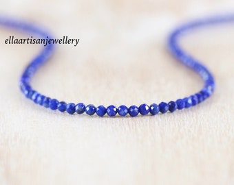 Lapis Lazuli Delicate Beaded Necklace in Sterling Silver, Gold or Rose Gold Filled, Dainty Gemstone Choker, Long Layering Necklace for Women