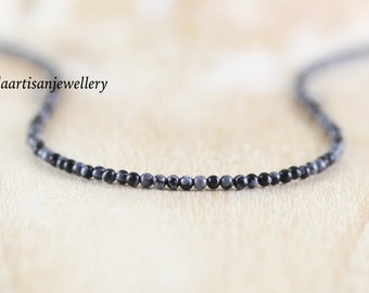 Snowflake Obsidian Delicate Beaded Necklace in Sterling Silver, Gold or Rose Gold Filled. Dainty Gemstone Choker. Long Layering Necklace