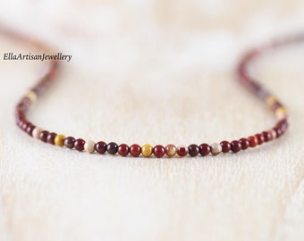 Mookaite Jasper Delicate Beaded Necklace in Sterling Silver, Gold or Rose Gold Filled, Dainty Gemstone Choker, Long Layer Necklace for Women
