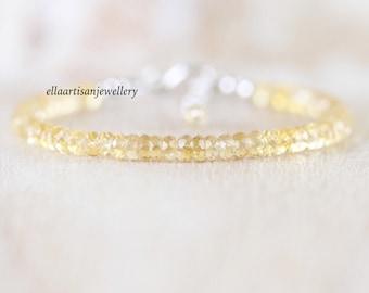 Citrine & Sterling Silver Bracelet. Slim Stacking Bracelet for Women. Delicate AAA Gemstone Faceted Rondelle Bracelet. Dainty Beaded Jewelry