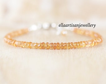 Padparadscha Sapphire Dainty Bracelet in Sterling Silver, Gold or Rose Gold Filled. Delicate Peach Orange Gemstone Beaded Bracelet for Women