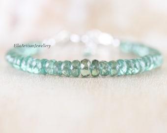 Green Kyanite Beaded Bracelet. Sterling Silver, Rose, Gold Filled. High AAAA Quality Gemstone Stacking Bracelet for Women. Boho Jewelry Gift