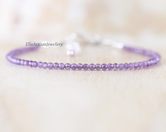 Amethyst Delicate Beaded Bracelet in Sterling Silver, Gold or Rose Gold Filled. Dainty Purple Gemstone Stacking Bracelet. Jewelry for Women