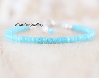 Amazonite Dainty Bracelet in Sterling Silver, Gold or Rose Gold Filled. Delicate Semi Precious Gemstone Beaded Stacking Bracelet for Women