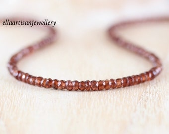 Mozambique Garnet Beaded Necklace in Sterling Silver, Gold or Rose Gold Filled. Dainty Red Gemstone Choker. Long Layering Necklace for Women