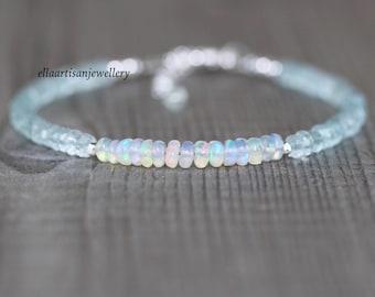 Aquamarine & Ethiopian Welo Opal Dainty Bracelet. Sterling Silver, Rose, Gold Filled. Delicate Blue Gemstone Stacking Bracelet for Women
