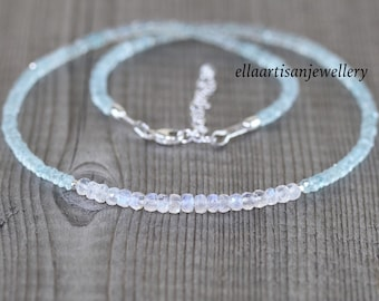 Rainbow Moonstone & Aquamarine Necklace in Sterling Silver, Gold or Rose Gold Filled. Blue Flash Gemstone Choker. Long Necklace for Women