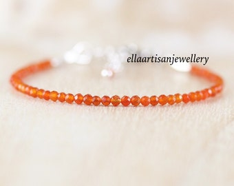 Carnelian Delicate Beaded Bracelet in Sterling Silver, Gold or Rose Gold Filled. Dainty Tiny Gemstone Stacking Bracelet. Jewelry for Women