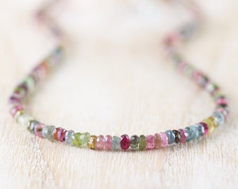 Multi Color Tourmaline Beaded Necklace. Sterling Silver, Gold or Rose Gold Filled. Watermelon Tourmaline Choker. Long Necklace for Women