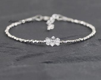 Herkimer Diamond, Sterling & Fine Silver Bracelet, Clear Quartz Crystal Dainty Gemstone Bracelet, Delicate Karen Hill Tribe Silver Jewelry