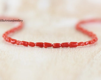 Mediterranean Red Coral Necklace in Sterling Silver, Gold or Rose Gold Filled. Dainty Beaded Choker. Delicate Layering Jewelry for Women