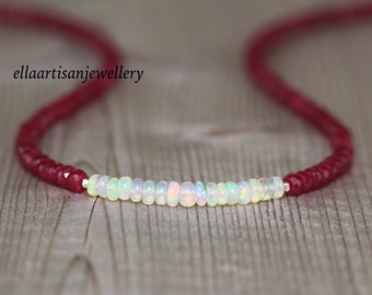 Ethiopian Welo Opal & Ruby Necklace in Sterling Silver, Gold or Rose Gold Filled. Dainty Gemstone Choker. Long Layering Necklace for Women