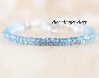 Moss Aquamarine Dainty Bracelet. Sterling Silver, Gold or Rose Gold Filled. Delicate Ombre Blue Gemstone Beaded Stacking Bracelet for Women