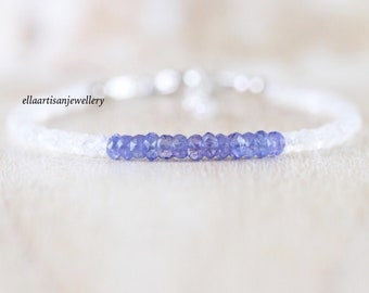 Tanzanite & Rainbow Moonstone Bracelet in Sterling Silver, Gold or Rose Gold Filled. Dainty Blue Gemstone Beaded Stacking Bracelet for Women
