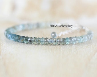 Moss Aquamarine Bracelet in Sterling Silver, Gold or Rose Gold Filled, Shaded Semi Precious Gemstones, Beaded Boho Jewelry for Women