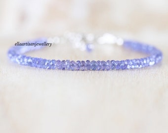Tanzanite Bracelet in Sterling Silver, Gold or Rose Gold Filled, Dainty Gemstone Stacking Bracelet, Simple Delicate Beaded Jewelry for Women