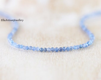 Kyanite Delicate Beaded Necklace in Sterling Silver, Gold or Rose Gold Filled. Dainty Tiny Gemstone Choker. Long Layering Necklace for Women