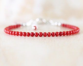 Red Coral Dainty Bracelet. Sterling Silver, Rose or Gold Filled. Slim Thin Stacking Bracelet. Simple Minimalist Small Bead Jewelry for Women