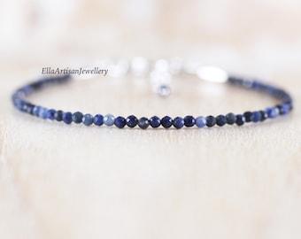 Dumortierite Dainty Bracelet. Sterling Silver, Rose, Gold Filled. Tiny Blue Gemstone Thin Slim Stacking Bracelet. Delicate Jewelry for Women