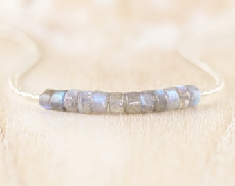 Labradorite & Czech Seed Bead Necklace in Sterling Silver, Gold or Rose Gold Filled. Gemstone Heishi Bead Choker. Layering Jewelry for Women