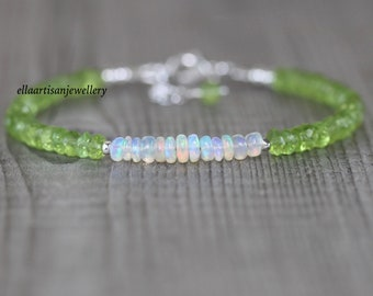 Peridot & Ethiopian Welo Opal Bracelet in Sterling Silver, Gold or Rose Gold Filled. Dainty Green Gemstone Beaded Boho Jewelry for Women