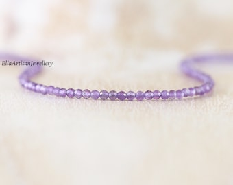 Amethyst Delicate Beaded Necklace in Sterling Silver, Gold or Rose Gold Filled. Dainty AAA Gemstone Choker. Long Layering Necklace for Women