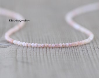 Peruvian Pink Opal Necklace in Sterling Silver, Gold or Rose Gold Filled, Dainty Gemstone Choker, Long Delicate Layering Necklace for Women