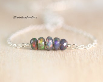 Ethiopian Black Welo Opal Bar Necklace in Sterling Silver, 14Kt Gold or Rose Gold Filled, Dainty Gemstone Choker, Layering Jewelry for Women