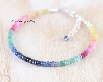 Sapphire, Emerald & Ruby Bracelet in Sterling Silver, Yellow or Rose Gold Filled. Multi Color Gemstone Dainty Stacking Bracelet for Women