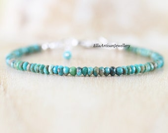 Arizona Sleeping Beauty Turquoise Beaded Bracelet in Sterling Silver, Gold or Rose Gold Filled. Dainty Gemstone Stacking Bracelet for Women