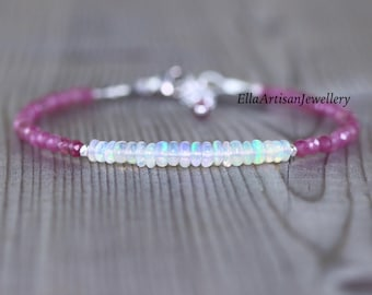Pink Tourmaline & Ethiopian Welo Opal Bracelet in Sterling Silver, Gold or Rose Gold Filled. Dainty Tiny Gemstone Beaded Jewelry for Women