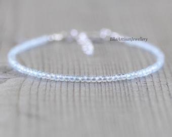 Aquamarine Delicate Beaded Bracelet. Sterling Silver, Rose, Gold Filled. Dainty Tiny Gemstone Stack Bracelet. Minimalist Jewelry for Women