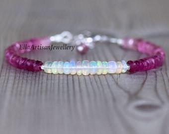 Pink Tourmaline & Ethiopian Welo Opal Bracelet in Sterling Silver, Gold or Rose Gold Filled, Dainty Gemstone Stacking Bracelet 4 - 5mm Beads