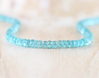 Aqua Apatite Chunky Beaded Necklace in Sterling Silver, Gold or Rose Gold Filled. AAAA Gemstone Choker. Long Layering Necklace for Women