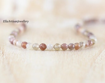 Botswana Agate Beaded Necklace in Sterling Silver, Gold or Rose Gold Filled, Dainty Faceted Gemstone Choker, Long Boho Layering Necklace
