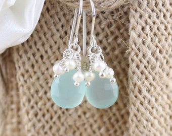Aqua Chalcedony, Freshwater Pearl & Sterling Silver Cluster Earrings. Beaded Gemstone Dangle Earrings. Fine Jewelry Gift for Women