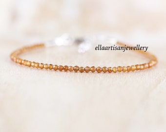 Citrine Delicate Beaded Bracelet in Sterling Silver, Gold or Rose Gold Filled. Dainty Gemstone Stacking Bracelet. Layering Jewelry for Women