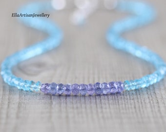 Tanzanite & Sky Blue Topaz Necklace. Dainty Beaded Choker. Sterling Silver, Rose, Gold Filled. Delicate Gemstone Layering Jewelry for Women