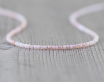 Peruvian Pink Opal Delicate Beaded Necklace in Sterling Silver, Gold or Rose Gold Filled. Gemstone Choker. Long Layering Necklace for Women