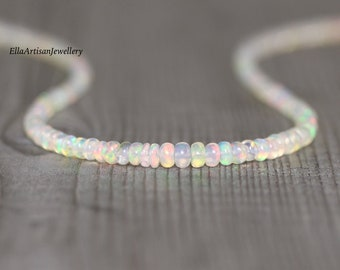 Ethiopian Welo Opal Beaded Necklace. Sterling Silver, Rose, Gold Filled. Dainty Delicate Gemstone Choker. Long Layering Necklace for Women