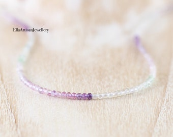 Fluorite Delicate Ombre Gemstone Necklace in Sterling Silver, Gold or Rose Gold Filled, Custom Length, Short Choker or Long for Layering